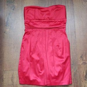 Red Silk Strapless Dress